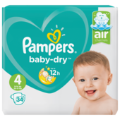 Pampers Baby Dry Gr.4 Maxi 9-14kg Sparpack 34 Stück
