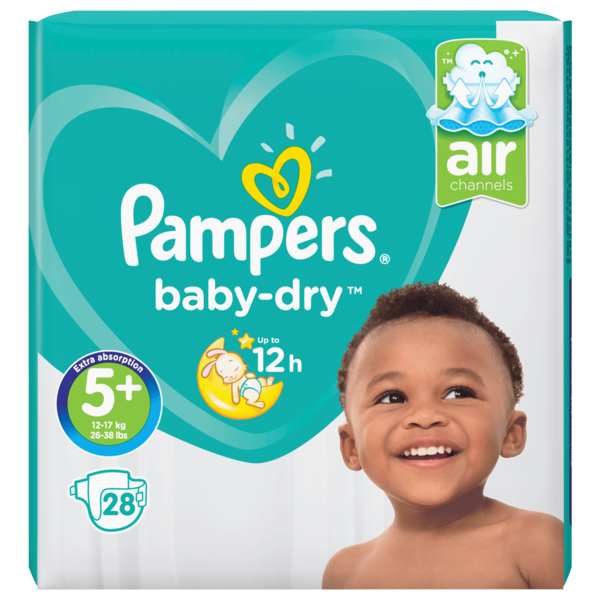 Pampers Baby Dry Gr.5+ Junior Plus 12-17kg Sparpack 28 Stück