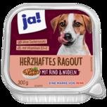 ja! Hundefutter Herzhafte Ragout mit Rind und Pasta 300g