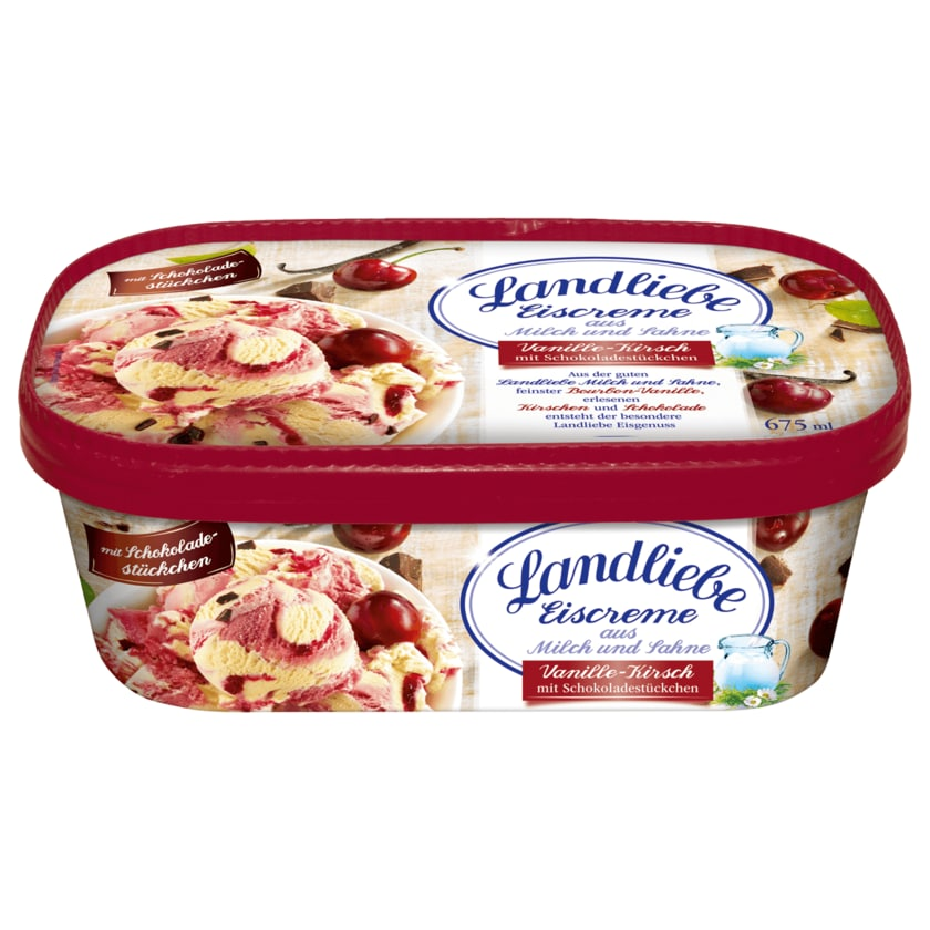 Landliebe Eiscreme Vanille-Kirsch mit Schokoladenstückchen 675ml