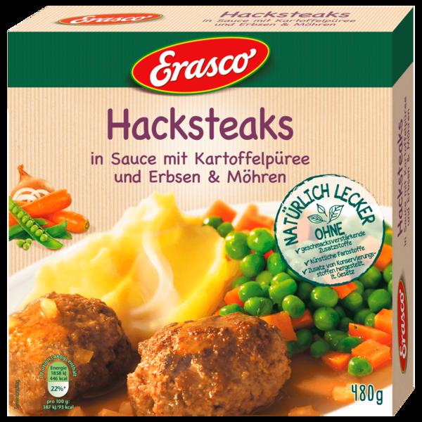 Erasco Hacksteaks in Sauce mit Kartoffelpüree und Erbsen und Möhren 480g
