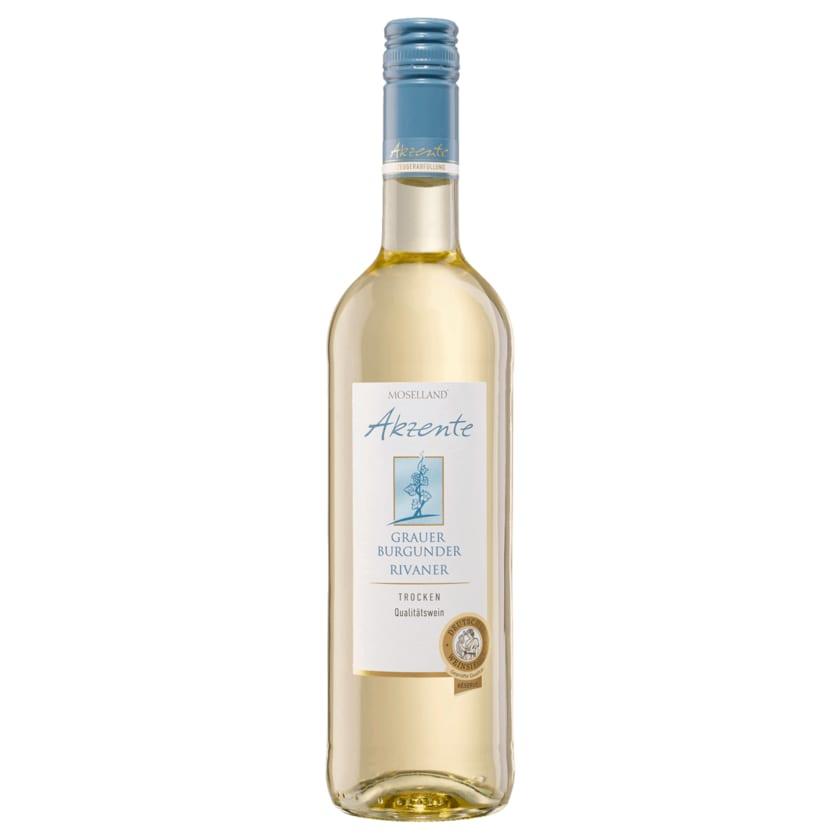 Moselland Akzente Weißwein Grauer Burgunder & Rivaner trocken 0,75l