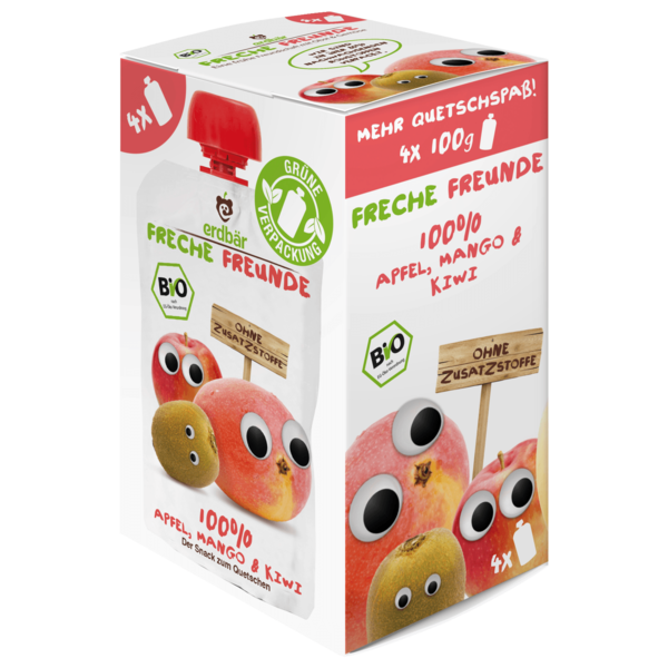 Erdbär Freche Freunde Bio Apfel Mango und Kiwi 4x100g