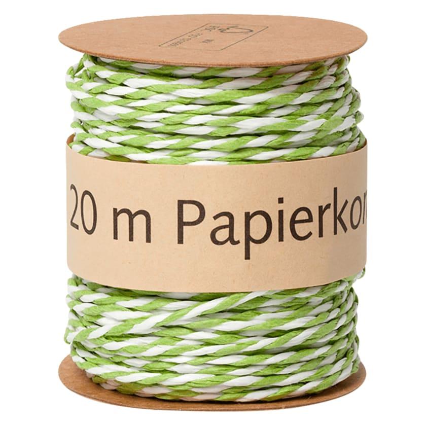 Papierkordel grün weiß 20m