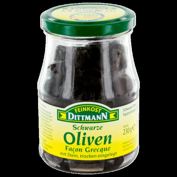 Feinkost Dittmann Oliven Facon Grecque schwarz mit Stein & trocken eingelegt 230g