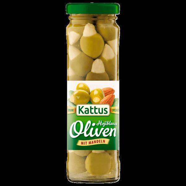 Kattus Spanische grüne Oliven mit Mandeln 90g