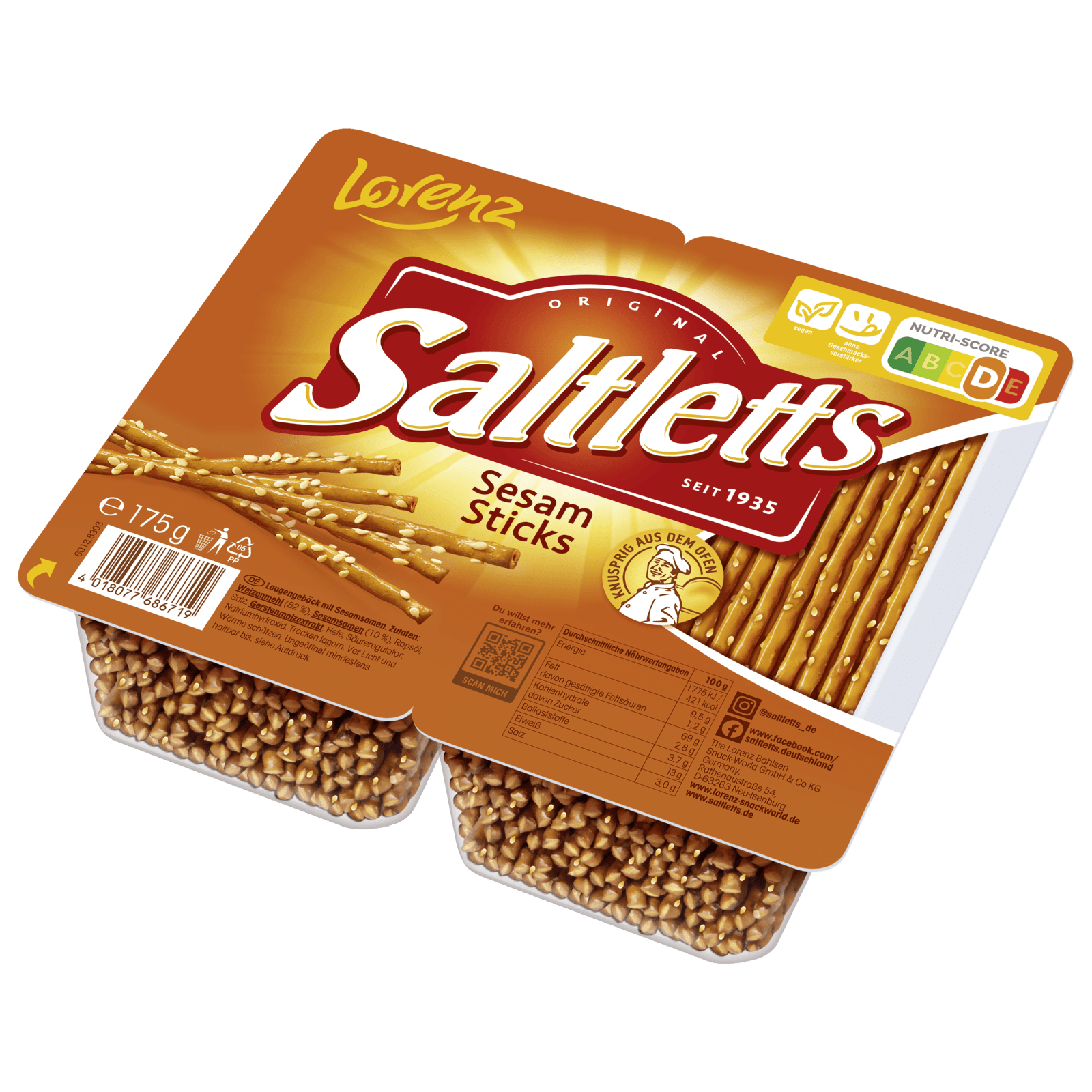 Lorenz Saltletts Sticks Sesam 175g