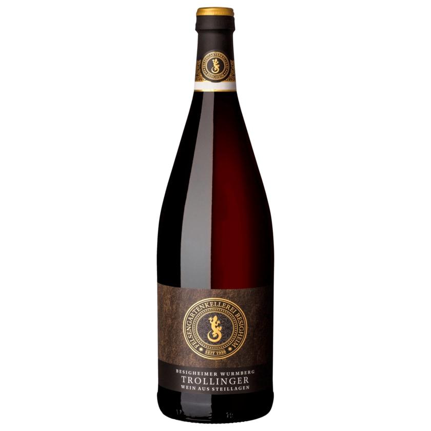 Besigheimer Felsengarten Rotwein Trollinger mit Lemberger Qualitätswein trocken 1l