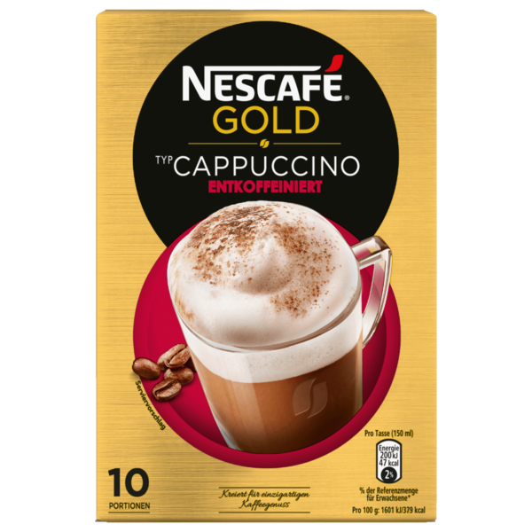Nescafé Gold Typ Cappuccino Entkoffeiniert Löslicher Kaffee 10x12,5g