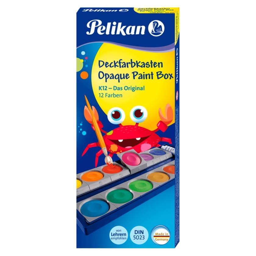 Pelikan Deckfarbkasten K12 mit 12 Farben und 1 Tube Deckweiß
