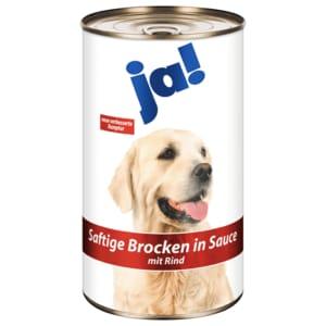 ja! Hundefutter Saftige Brocken in Sauce mit Rind 1,24kg