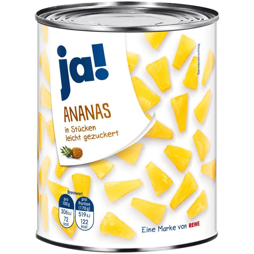 ja! Ananas-Stücke leicht gezuckert 340ml