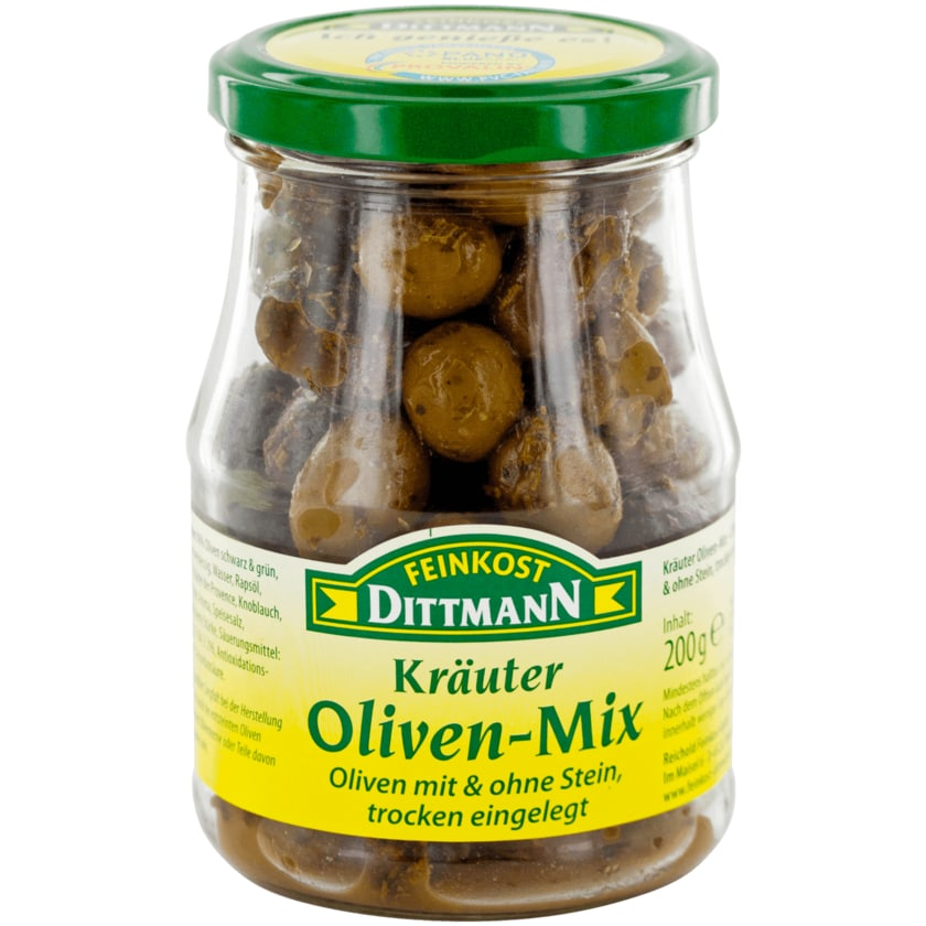 Feinkost Dittmann Kräuteroliven-Mix trocken eingelegt 200g