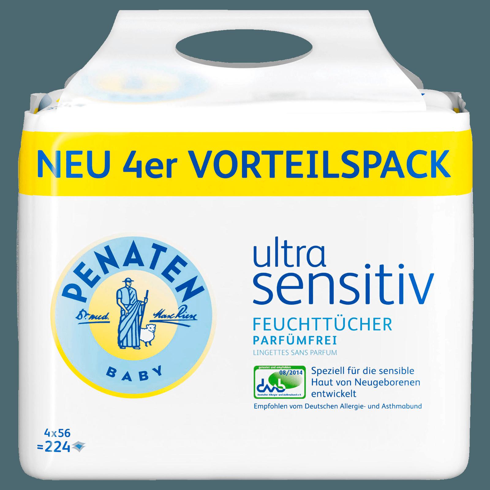 Penaten Ultra Sensitiv Feuchttücher parfümfrei 4x56 Stück