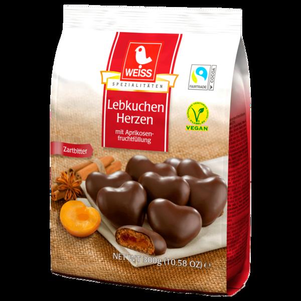 Weiss Lebkuchen Herzen Zartbitter 300g