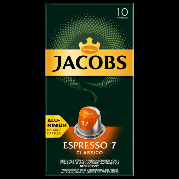 Jacobs Kaffeekapseln, Espresso 7 Classico, 10 Nespresso kompatible Kapseln