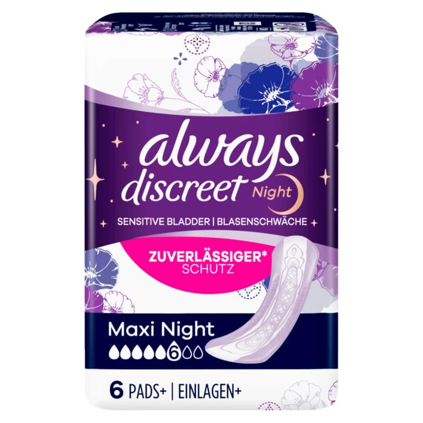 Always Discreet night bei Blasenschwäche Maxi night 6 Stück