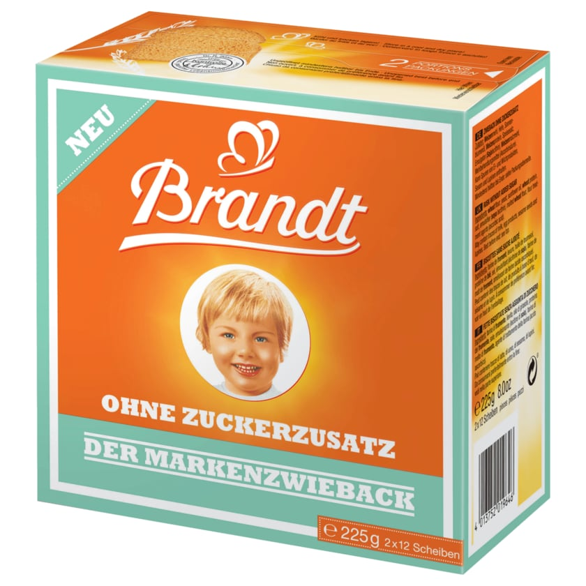 Brandt Markenzwieback ohne Zuckerzusatz 225g 2x12 Scheiben