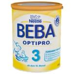 Nestlé Beba Optipro 3 Folgemilch ab dem 10. Monat Pulver 800g wiederverschließbar mit praktischer Messlöffel-Ablage