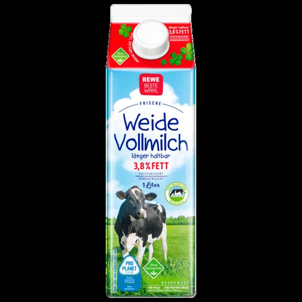 REWE Beste Wahl Weidemilch Frische Vollmilch 3,8 % 1l
