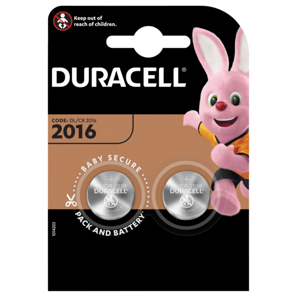 Duracell Knopfzellen Lithium CR 2016 2 Stück