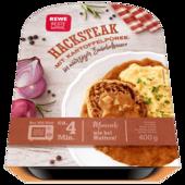 Rewe Beste Wahl Hacksteak mit Kartoffelpüree in Zwiebelsauce 400g