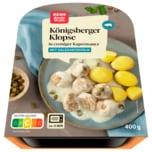 REWE Beste Wahl Königsberger Klopse mit Salzkartoffeln mit cremiger Kapernsauce 400g