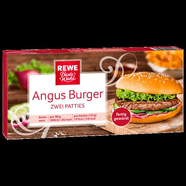 REWE Beste Wahl Hamburger-Patties vom Angus Rind zum Braten und Grillen, fertig gewürzt, tiefgefroren 250g