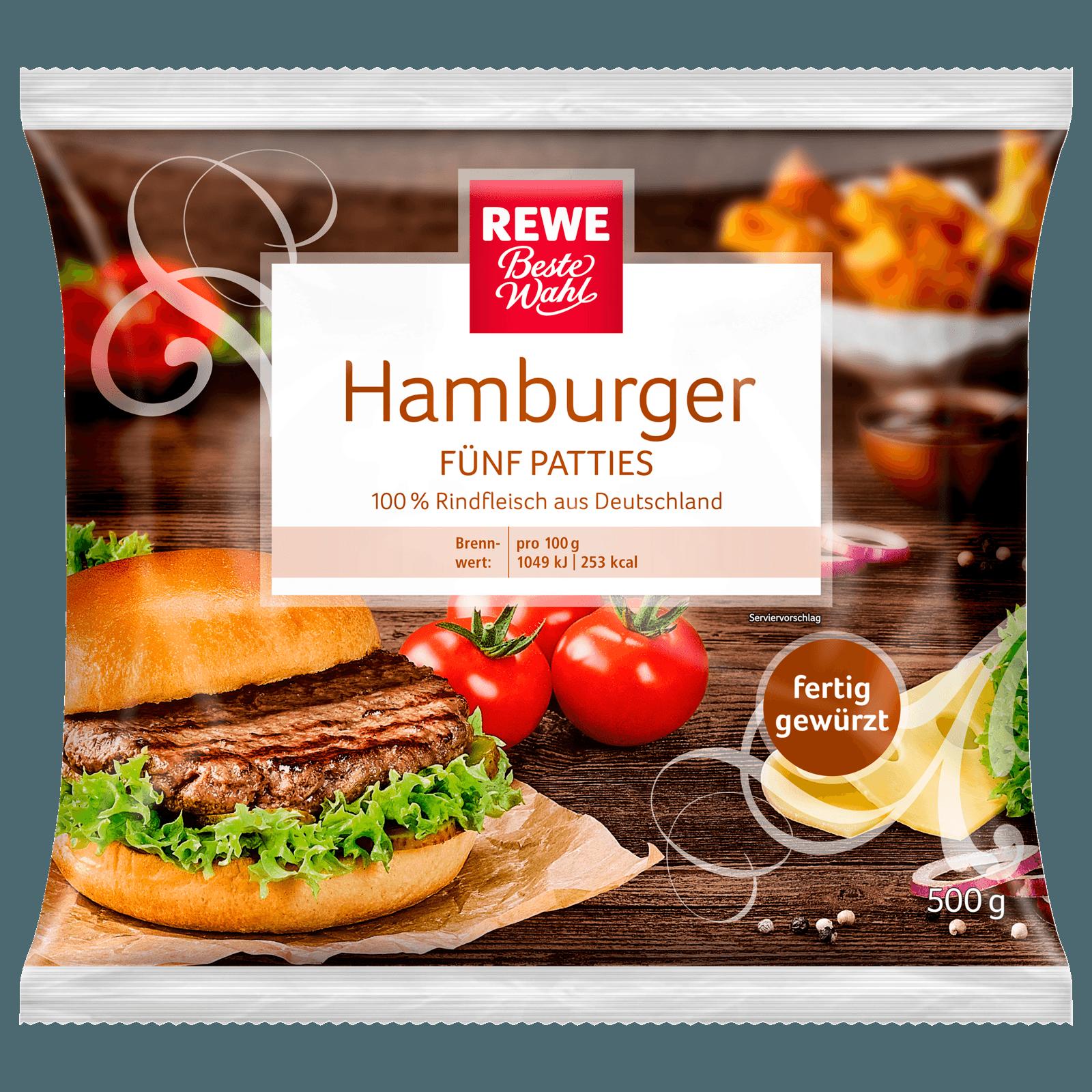Rewe Beste Wahl Hamburger Fünf Patties Vom Rind Tiefgefroren 500g
