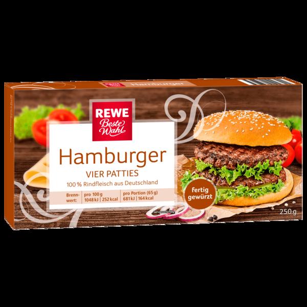 REWE Beste Wahl Hamburger-Patties vom Rind zum Braten und Grillen 250g