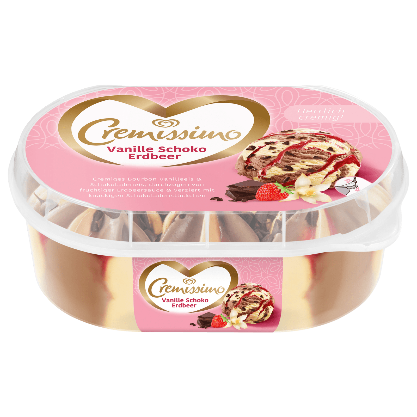 Cremissimo Vanille Schoko Erdbeer Eis 900 ml