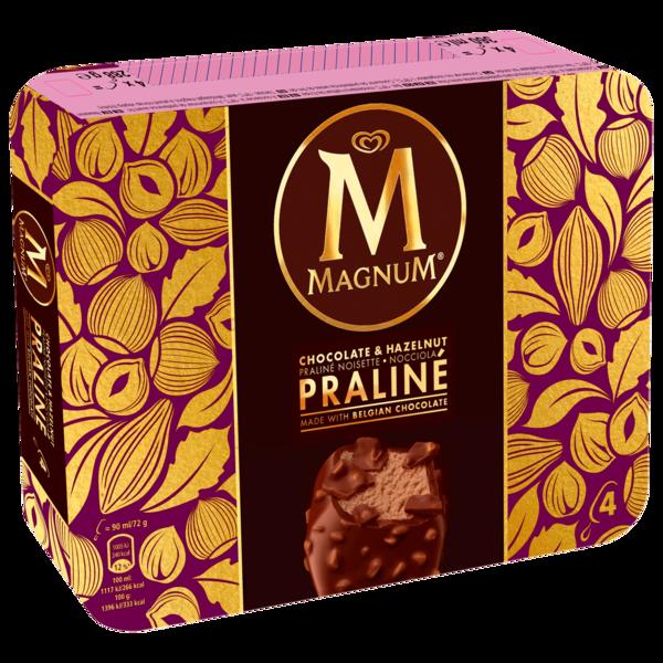Magnum Chocolate und Hazelnut Praliné 4 Stück, 360ml