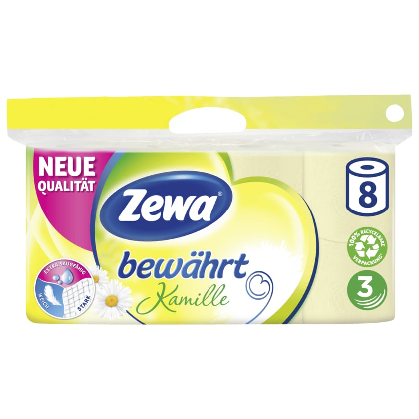 Zewa Bewährt Toilettenpapier Kamille 3-lagig 8x150 Blatt