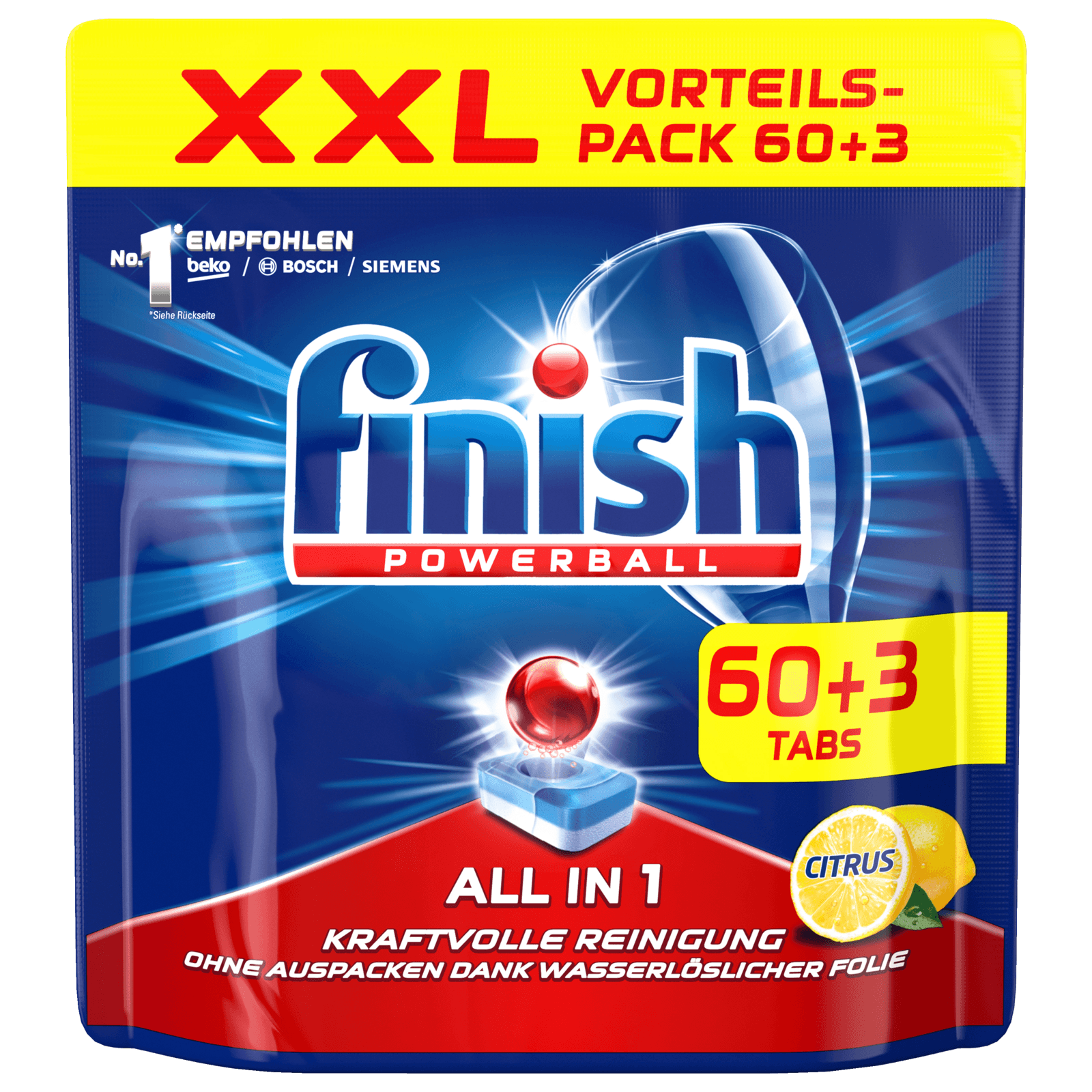 Finish All in One XXL citrus 60+3 Tabs