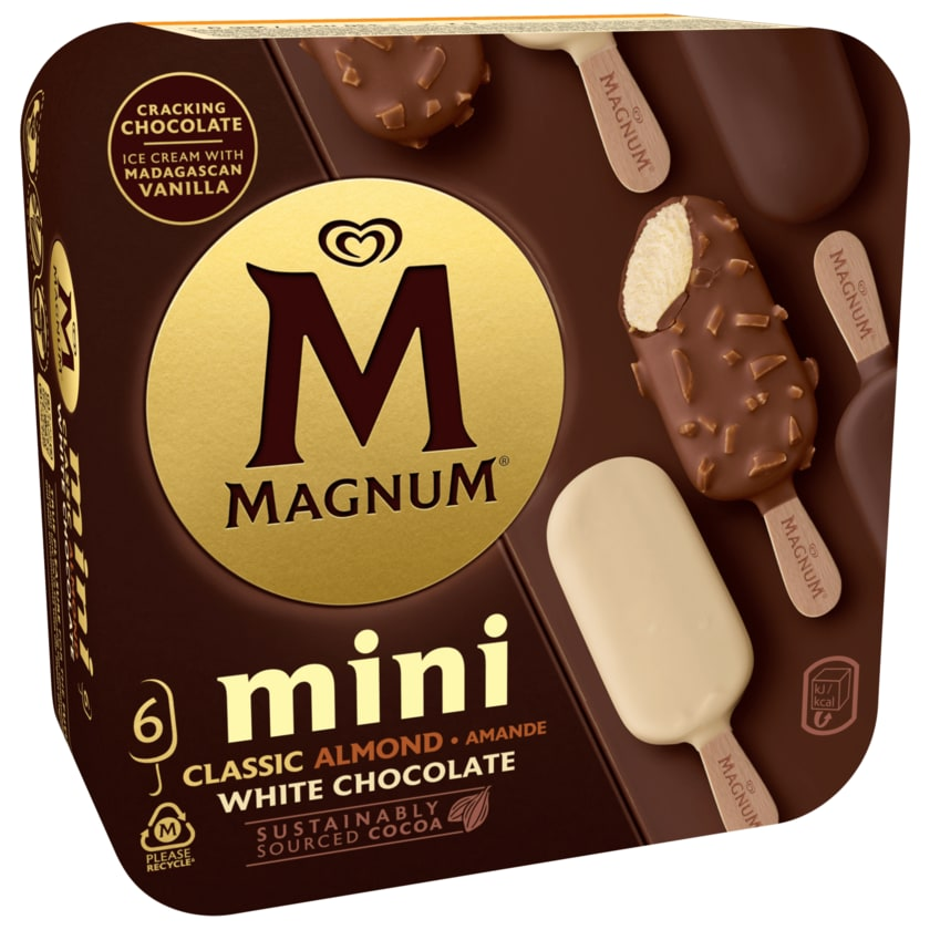 Magnum Mini Classic Almond White Familienpackung Eis 6 x 55 ml