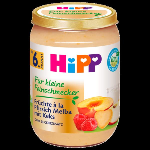 Hipp Für kleine Feinschmecker Bio Früchte à la Pfirsich Melba mit Keks ab 6. Monat 190g