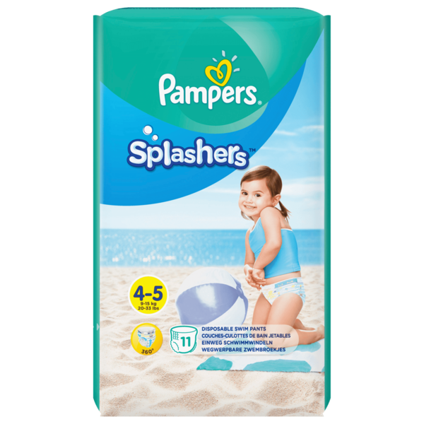 Pampers Splashers Windeln 9-15kg Größe 4-5, 11 Stück