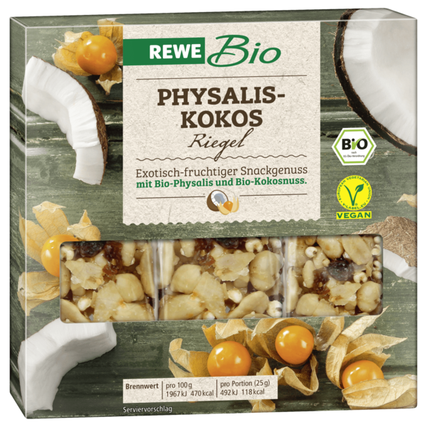 REWE Bio Physalis-Kokos Riegel 3x25g