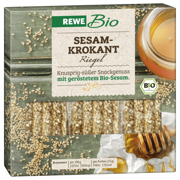 REWE Bio Sesam-Krokant Riegel 3x25g