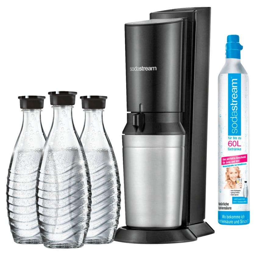 Sodastream Wassersprudler Crystal 2.0 mit 3 Glaskaraffen titan