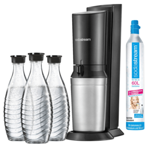 Sodastream Wassersprudler Crystal 2.0 Titan mit 3 Glaskaraffen