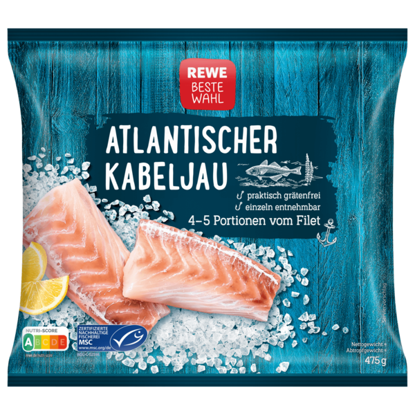 REWE Beste Wahl Atlantisches Kabeljaufilet 3-6 Filets, 475g