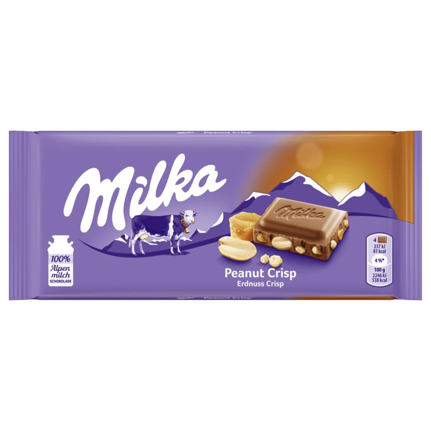 Milka Schokolade Erdnuss Crisp 90g