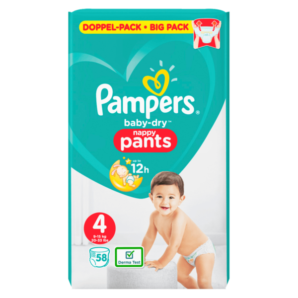 Pampers BABY DRY PANTS Windeln Gr. 4 Maxi 9-15 kg Doppelpack 58ST