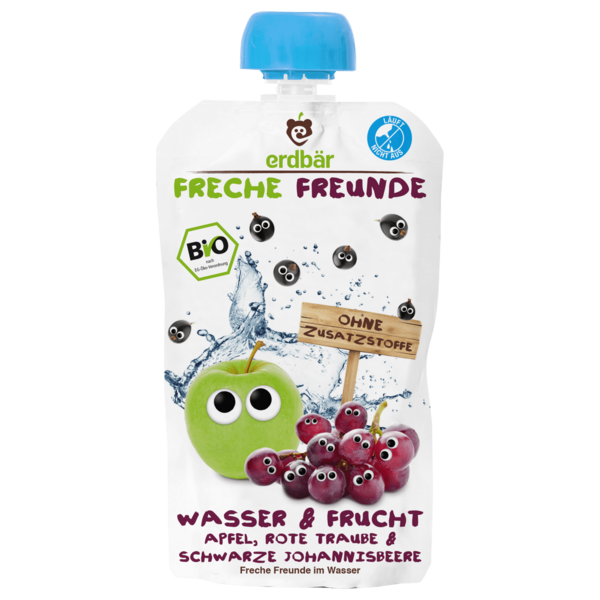 Erdbär Freche Freunde Bio Wasser & Frucht Apfel, Traube & Johannisbeere 200ml