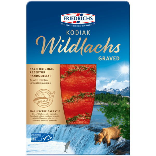 Friedrichs Kodiak Wildlachs Graved 100g