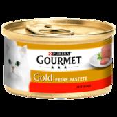 Gourmet Katzenfutter Gold Feine Pastete mit Rind 85g