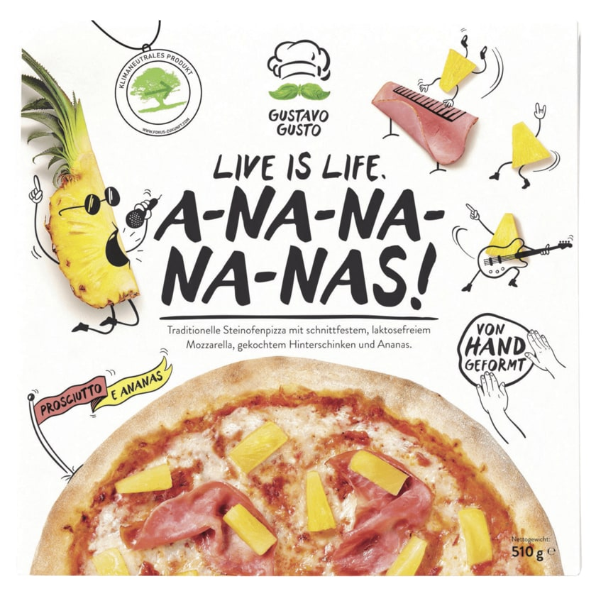 Gustavo Gusto Pizza Prosciutto e Ananas 510g