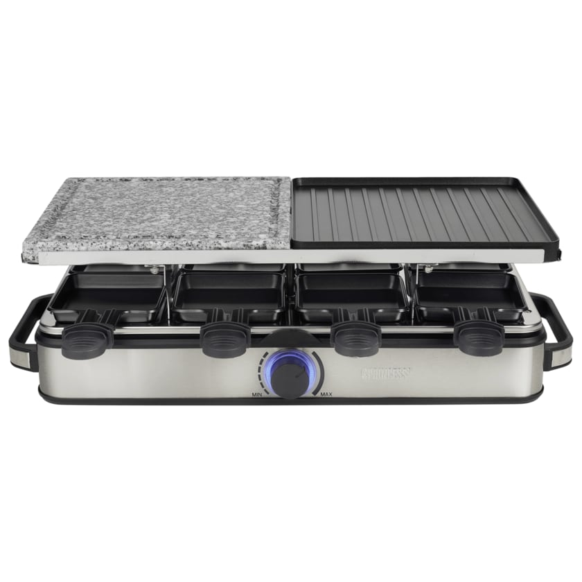 Princess Raclette 8 Stone und Grill Deluxe Silber 1400W