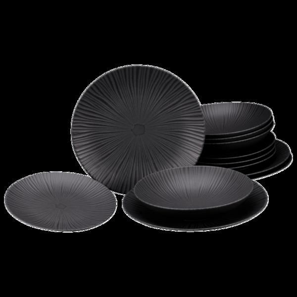 CreaTable Tafelservice Vesuvio Black (Elements Collection) 12-teilig